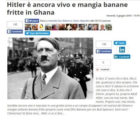 Hitler è ancora vivo e mangia banane fritte in Ghana   Affaritaliani.it