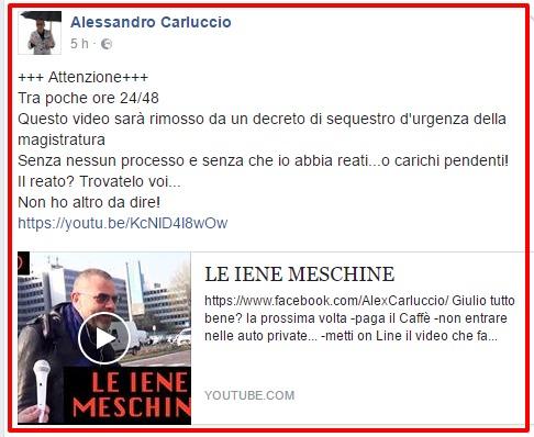 Solidarietà a Alessandro Carluccio